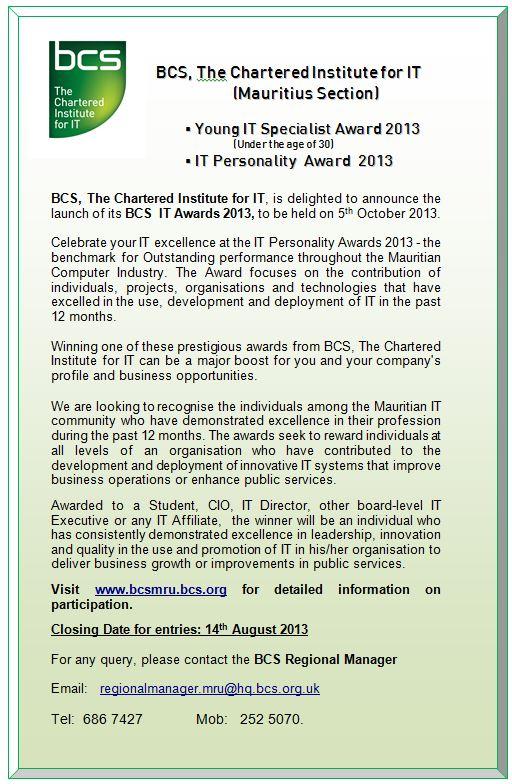 BCS Mauritius IT Awards 2013