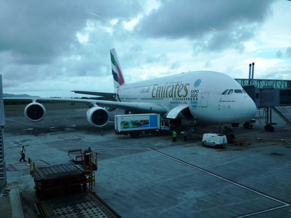 Emirates A380 at SSR airport, Mauritius